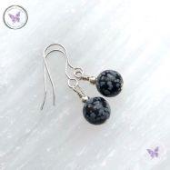 Classical Snowflake Obsidian Silver Earrings